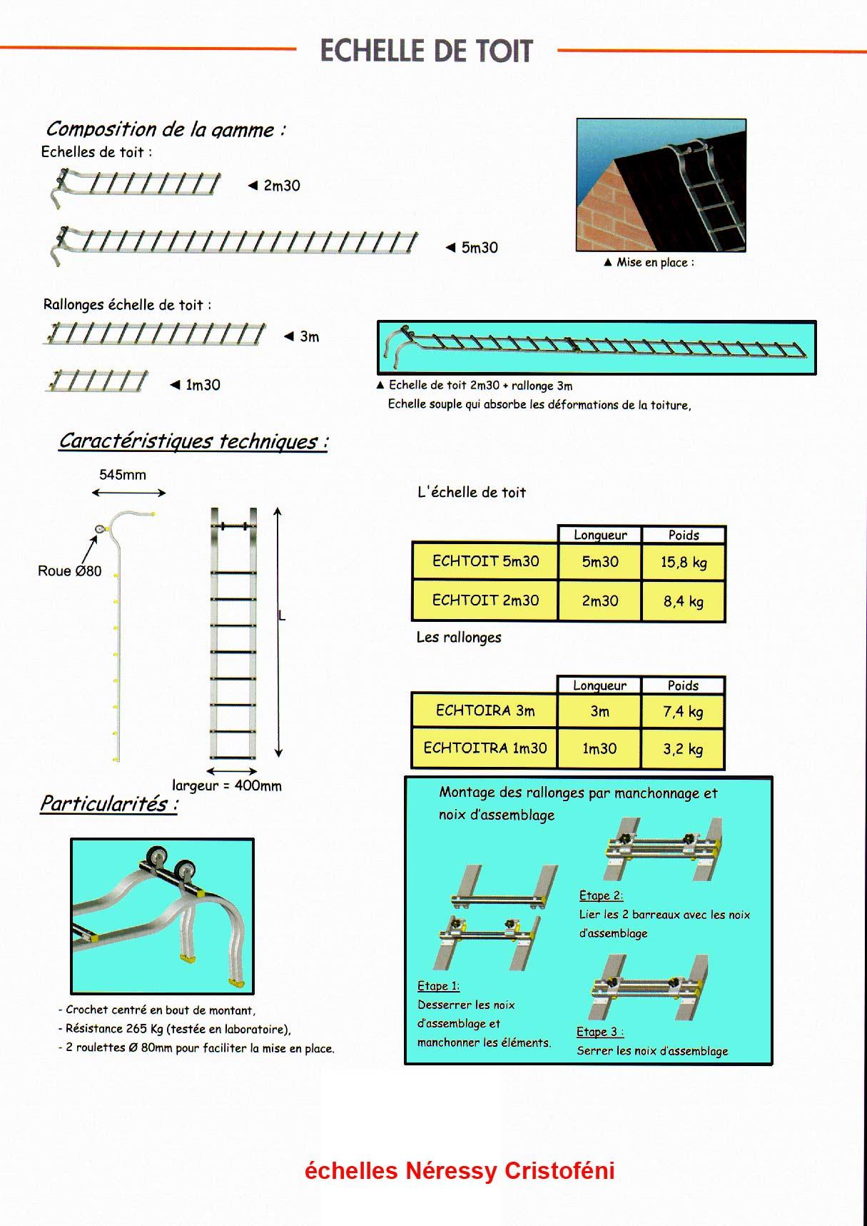 Echafaudage photo du catalogue 2010 des chelles de toit en 2 l ments avec - Location echelle de toit ...