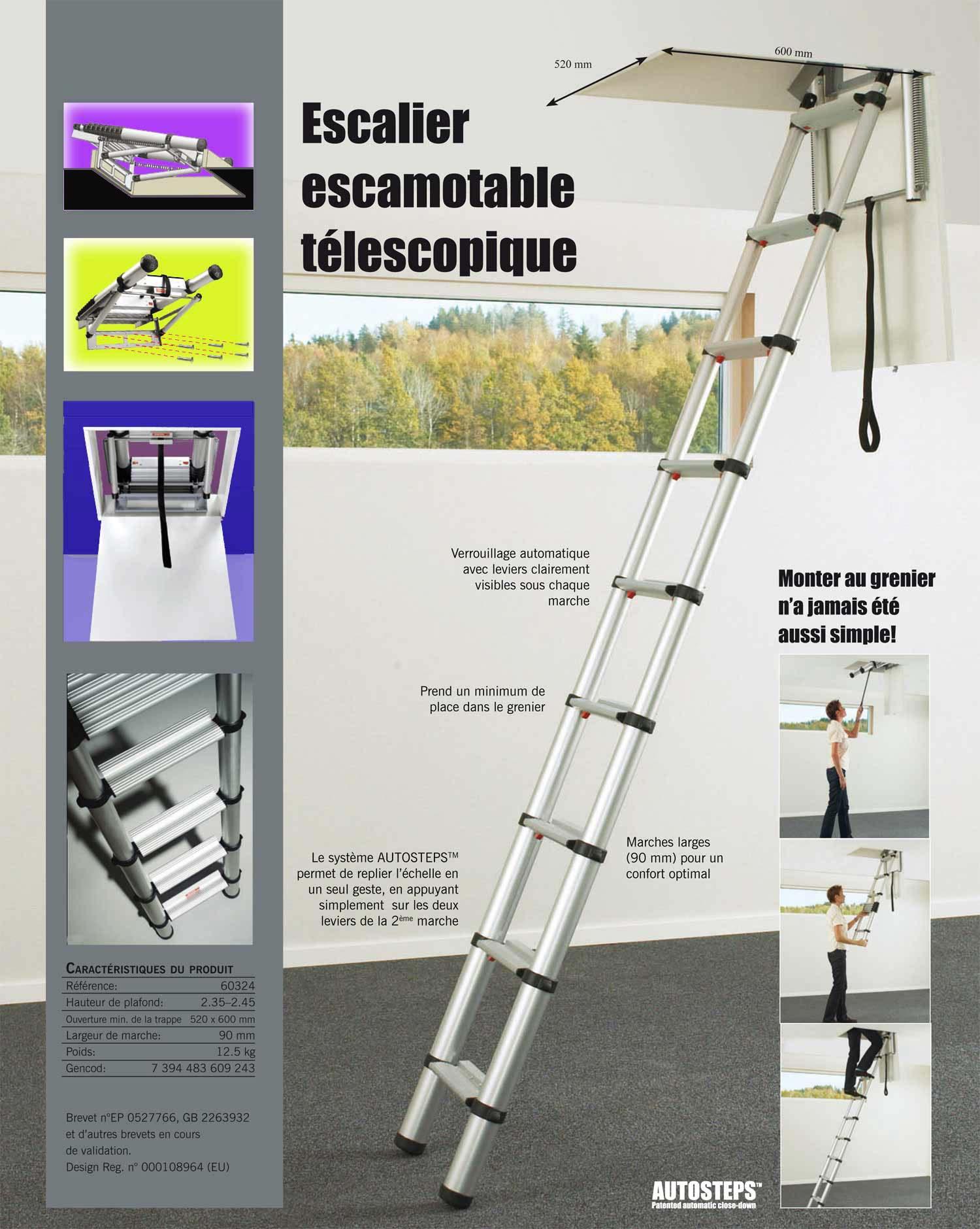 Fantastique les échelles télescopiques de grenier à marches plates et pour AC-71